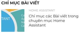 Chỉ mục bài viết chuyên mục Home Assistant