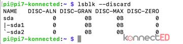 Kết quả kiểm tra hỗ trợ TRIM trên Raspbian